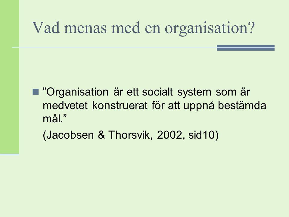 Vad menas med en organisation