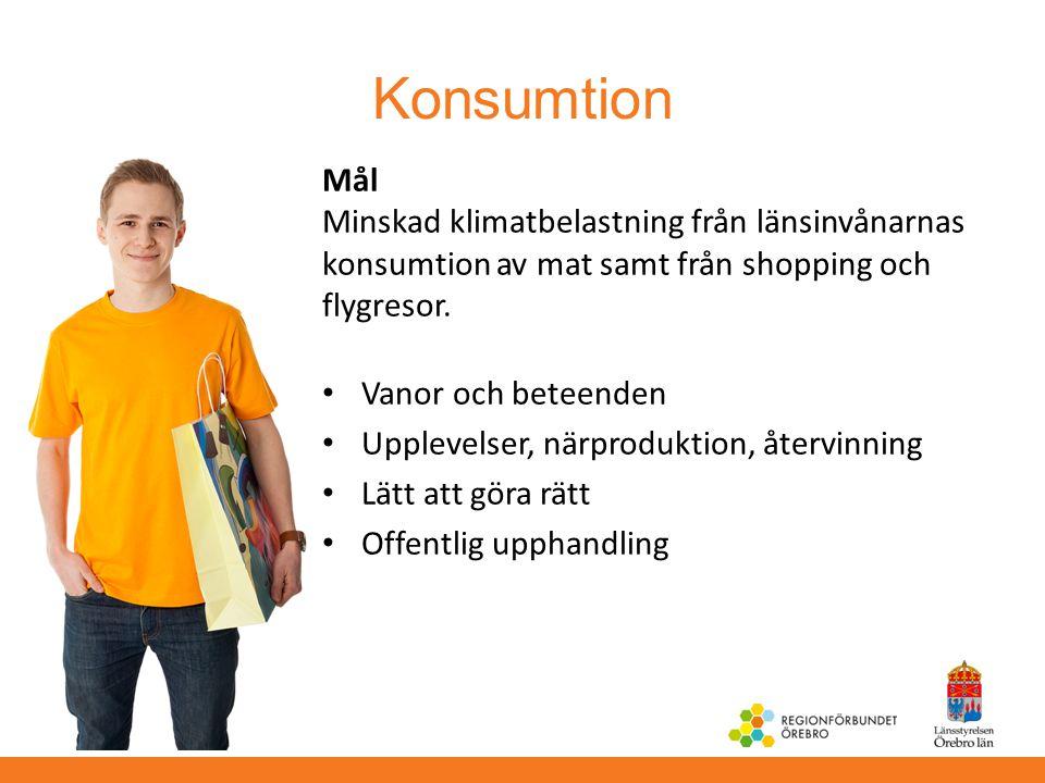 Konsumtion Mål Minskad klimatbelastning från länsinvånarnas konsumtion av mat samt från shopping och flygresor.
