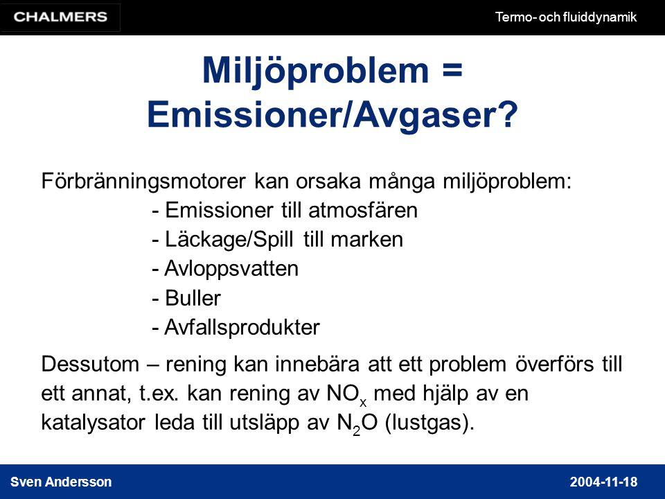 Miljöproblem = Emissioner/Avgaser