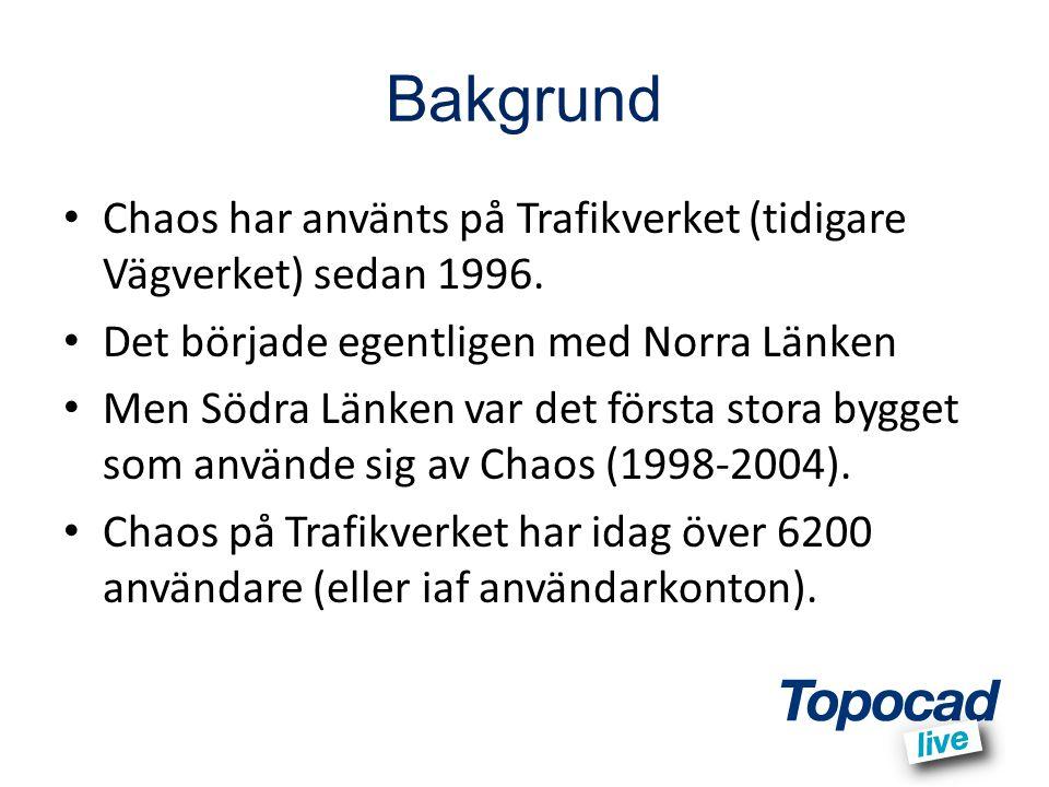 Bakgrund Chaos har använts på Trafikverket (tidigare Vägverket) sedan 1996. Det började egentligen med Norra Länken.