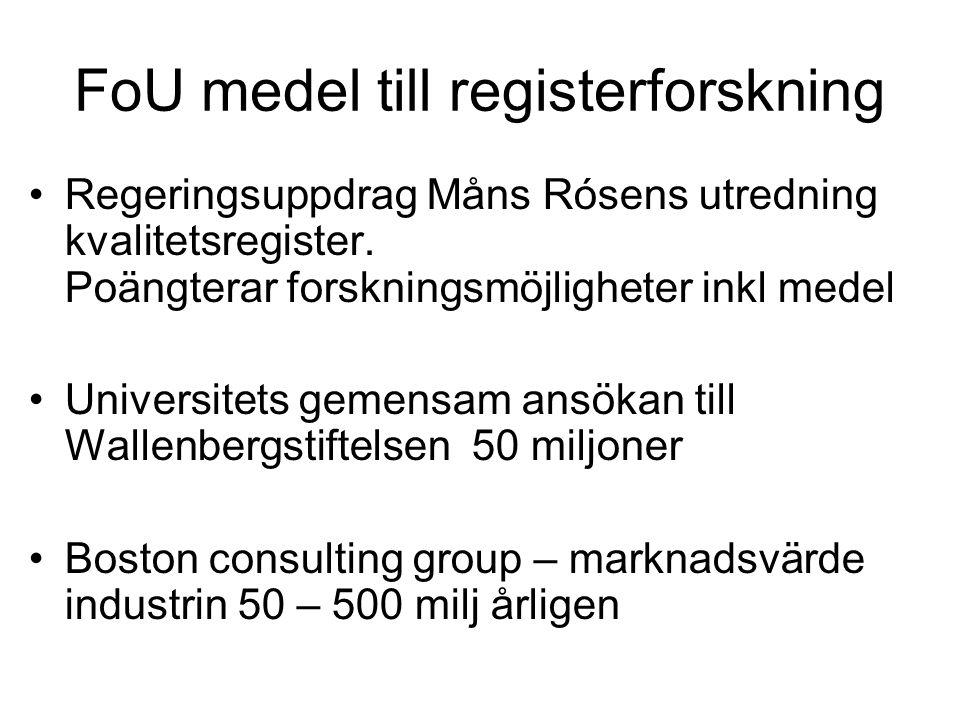 FoU medel till registerforskning