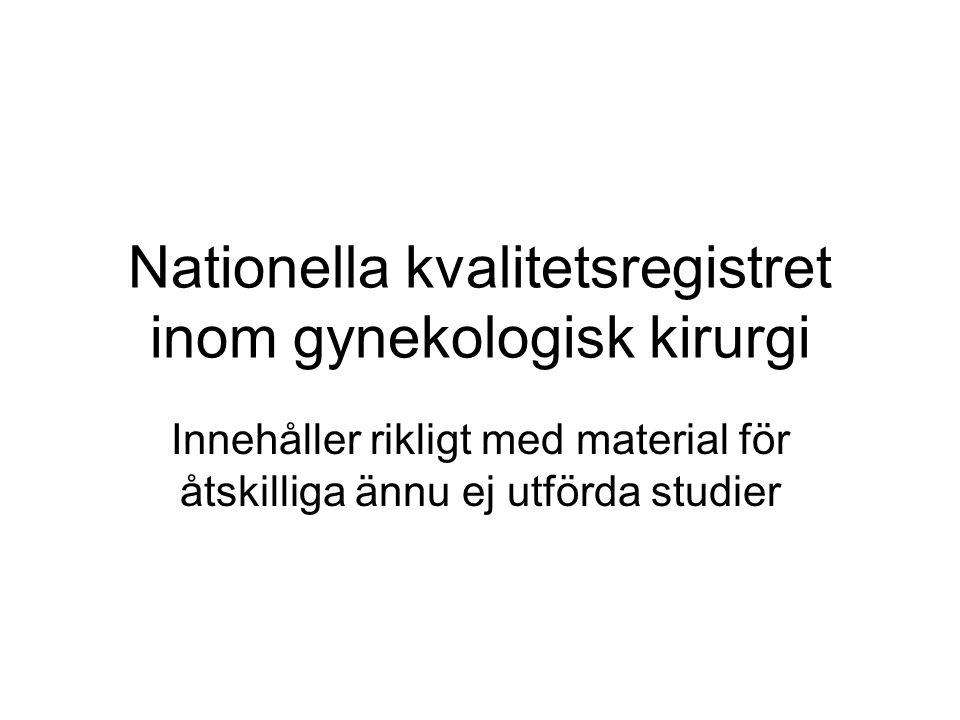 Nationella kvalitetsregistret inom gynekologisk kirurgi