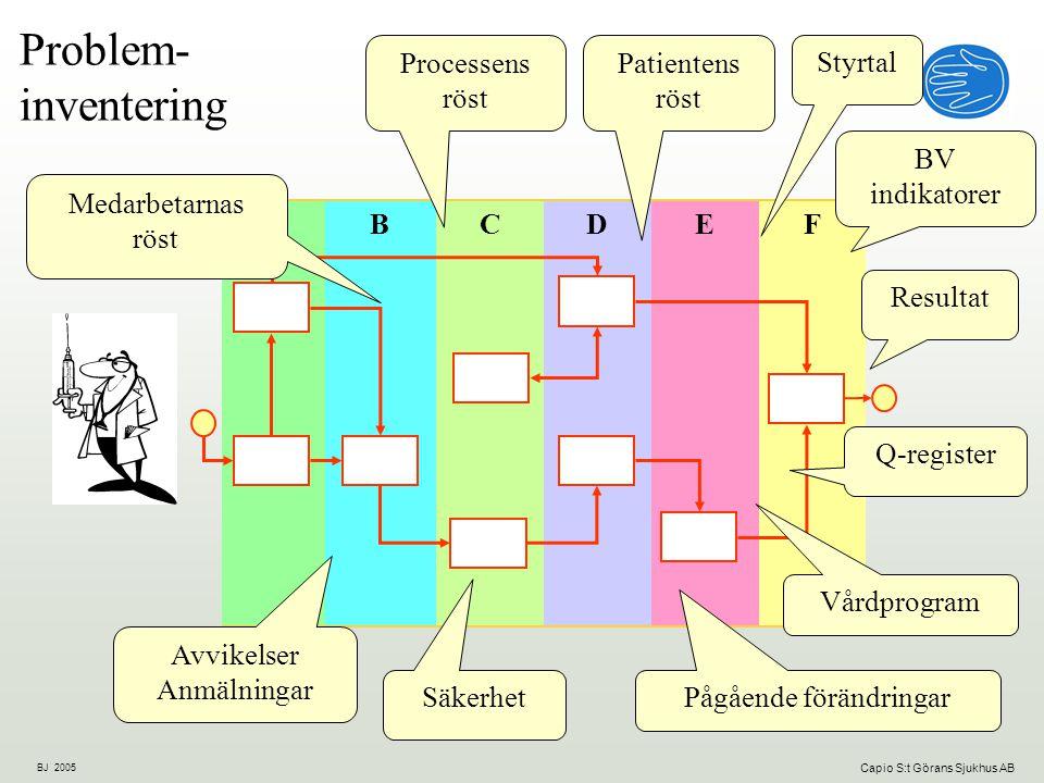 Problem- inventering Processens röst Patientens röst Styrtal BV