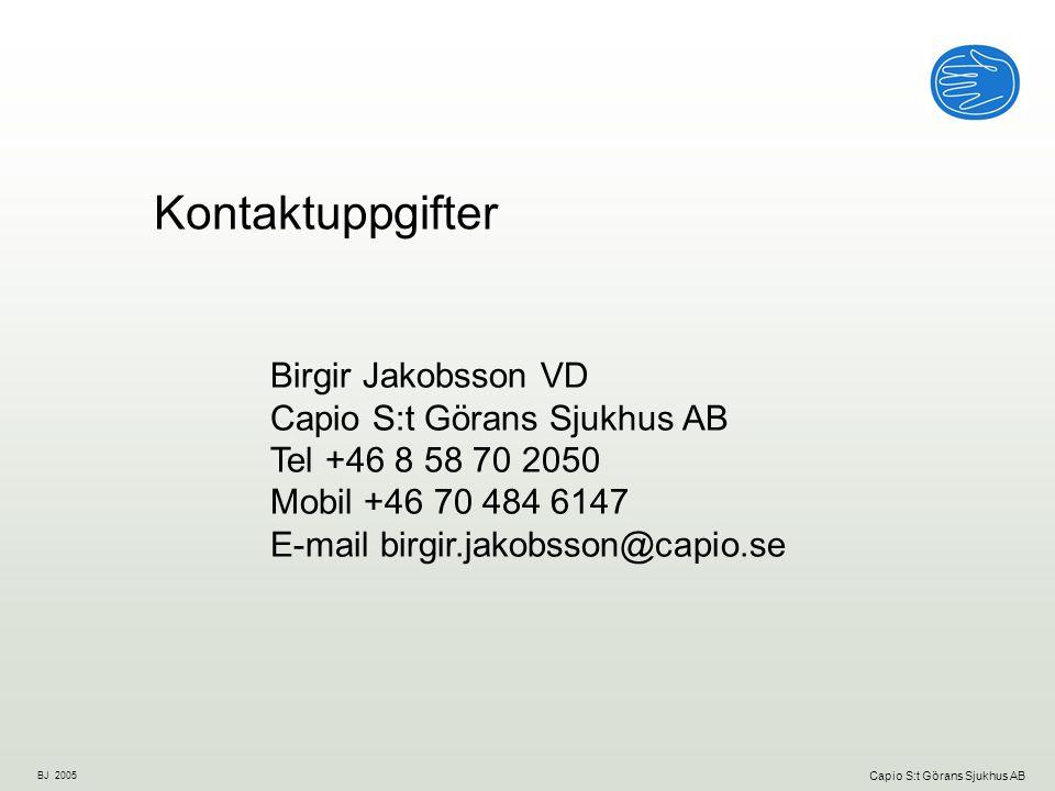 Kontaktuppgifter Birgir Jakobsson VD Capio S:t Görans Sjukhus AB