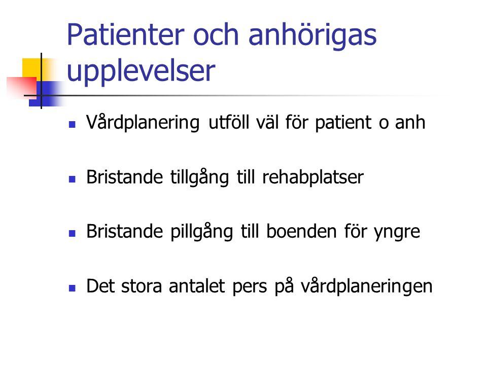 Patienter och anhörigas upplevelser