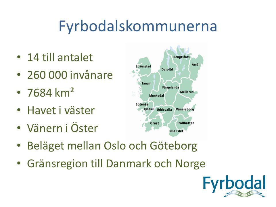 Fyrbodalskommunerna 14 till antalet 260 000 invånare 7684 km²