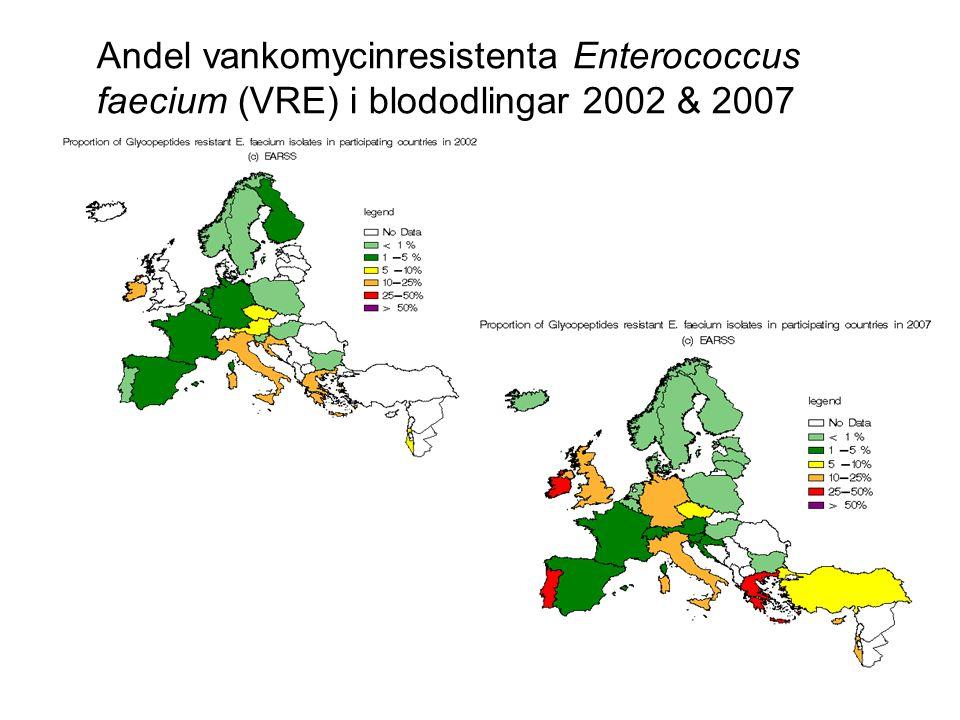 Andel vankomycinresistenta Enterococcus faecium (VRE) i blododlingar 2002 & 2007