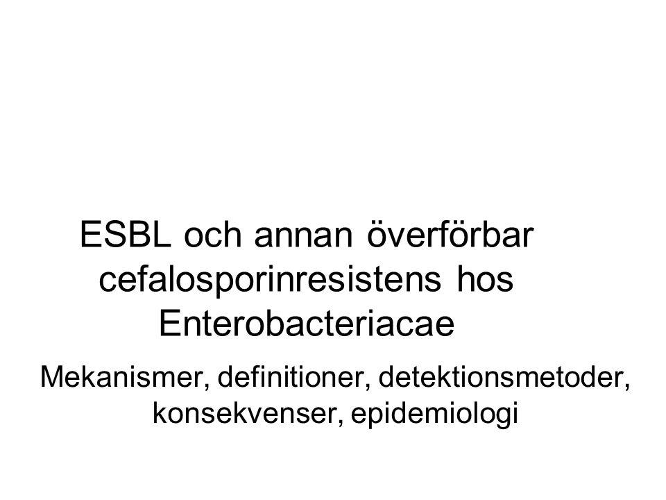 ESBL och annan överförbar cefalosporinresistens hos Enterobacteriacae
