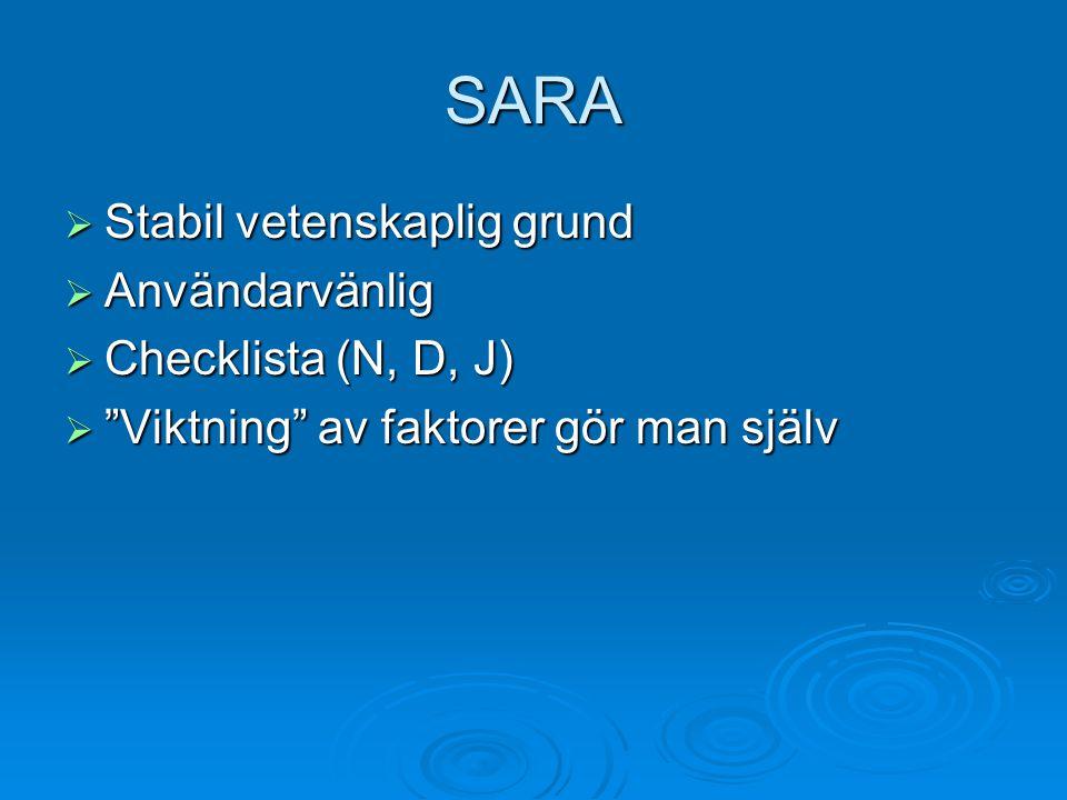 SARA Stabil vetenskaplig grund Användarvänlig Checklista (N, D, J)