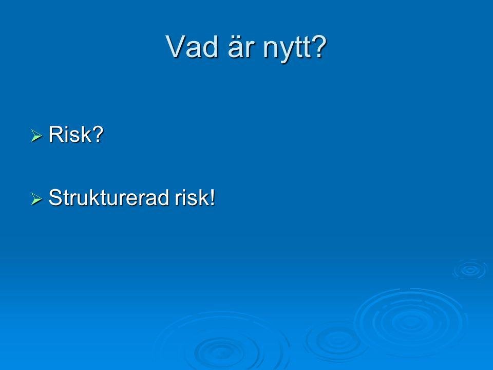 Vad är nytt Risk Strukturerad risk!