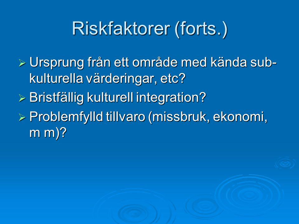 Riskfaktorer (forts.) Ursprung från ett område med kända sub-kulturella värderingar, etc Bristfällig kulturell integration
