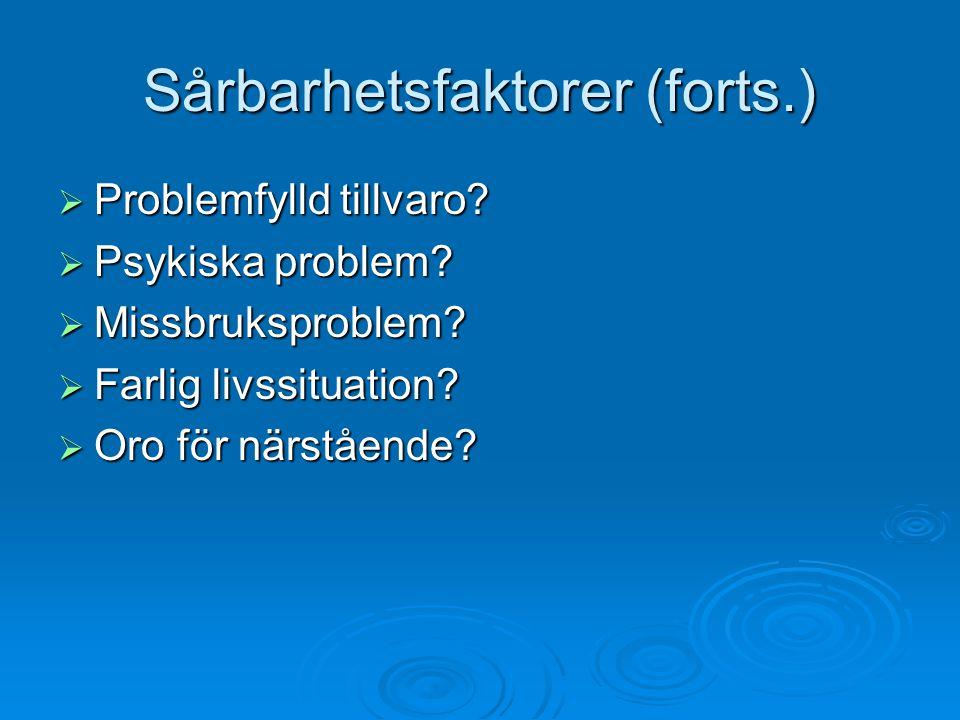 Sårbarhetsfaktorer (forts.)