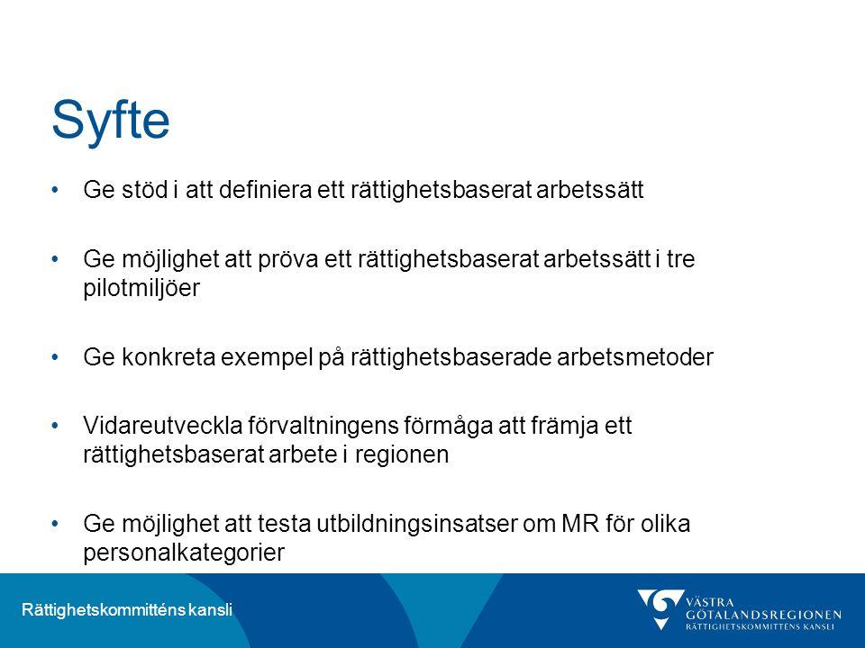 Syfte Ge stöd i att definiera ett rättighetsbaserat arbetssätt