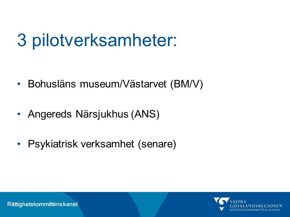 3 pilotverksamheter: Bohusläns museum/Västarvet (BM/V)