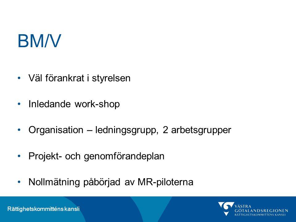 BM/V Väl förankrat i styrelsen Inledande work-shop
