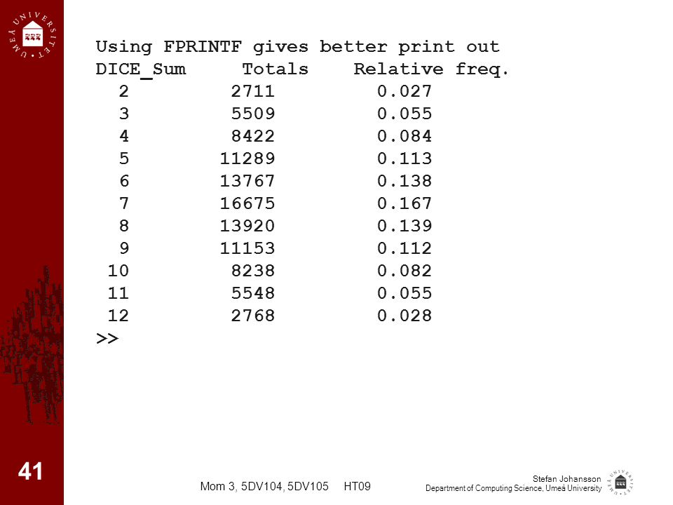 Using FPRINTF gives better print out DICE_Sum Totals Relative freq.