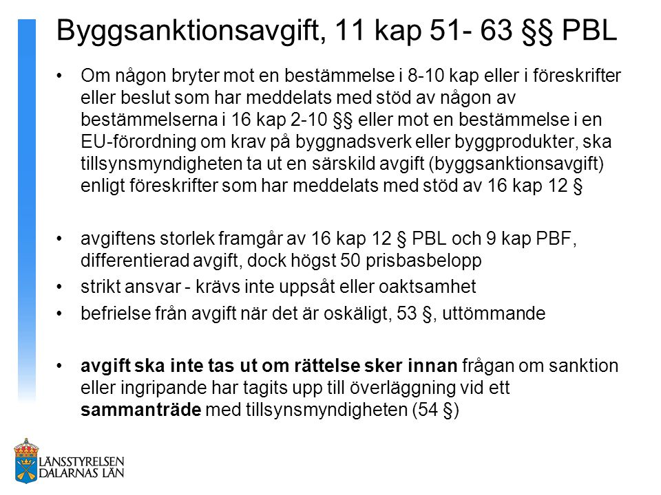 Byggsanktionsavgift, 11 kap 51- 63 §§ PBL