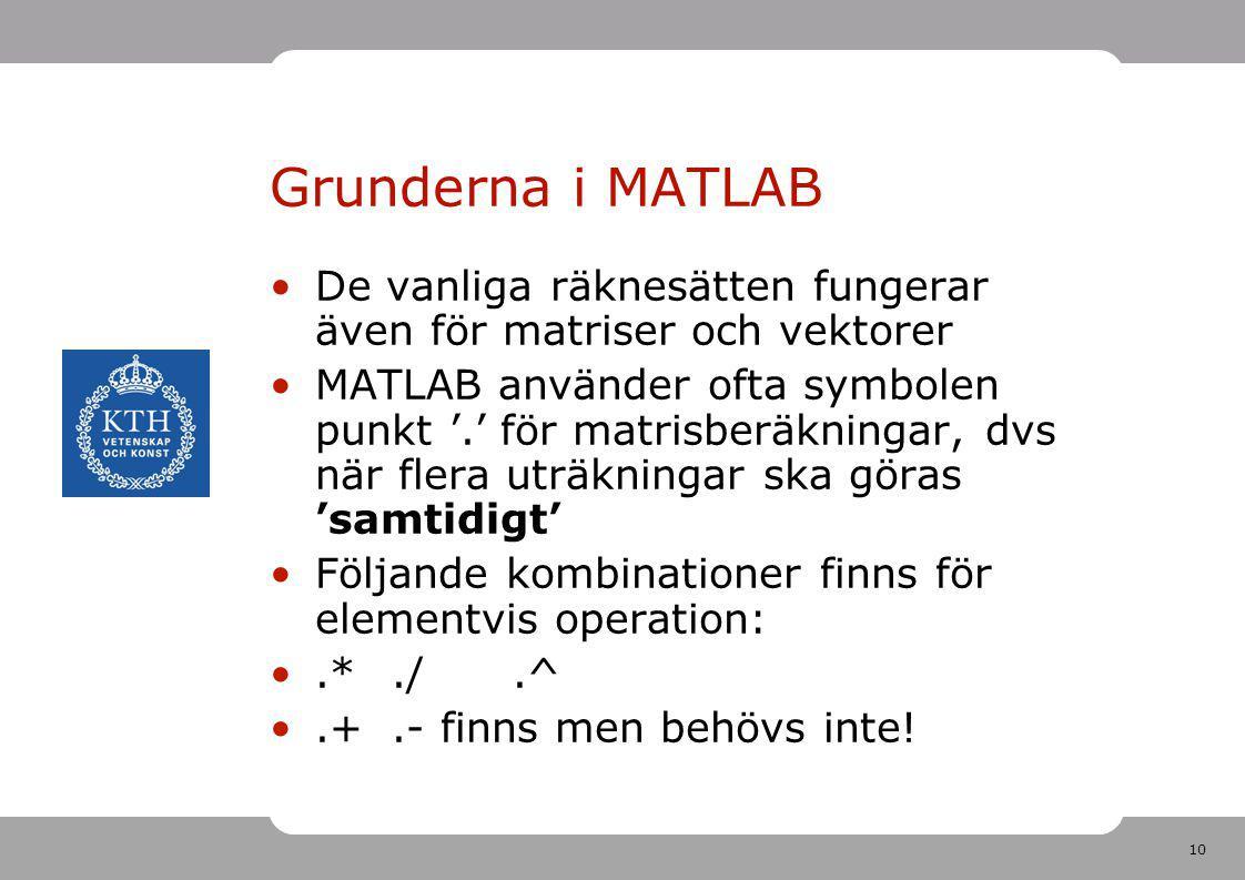 Grunderna i MATLAB De vanliga räknesätten fungerar även för matriser och vektorer.