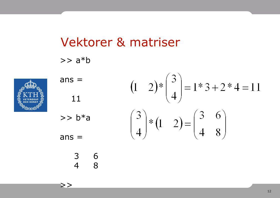 Vektorer & matriser >> a*b ans = 11 >> b*a 3 6 4 8