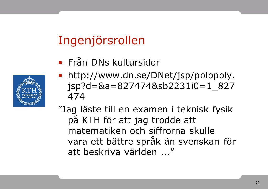 Ingenjörsrollen Från DNs kultursidor