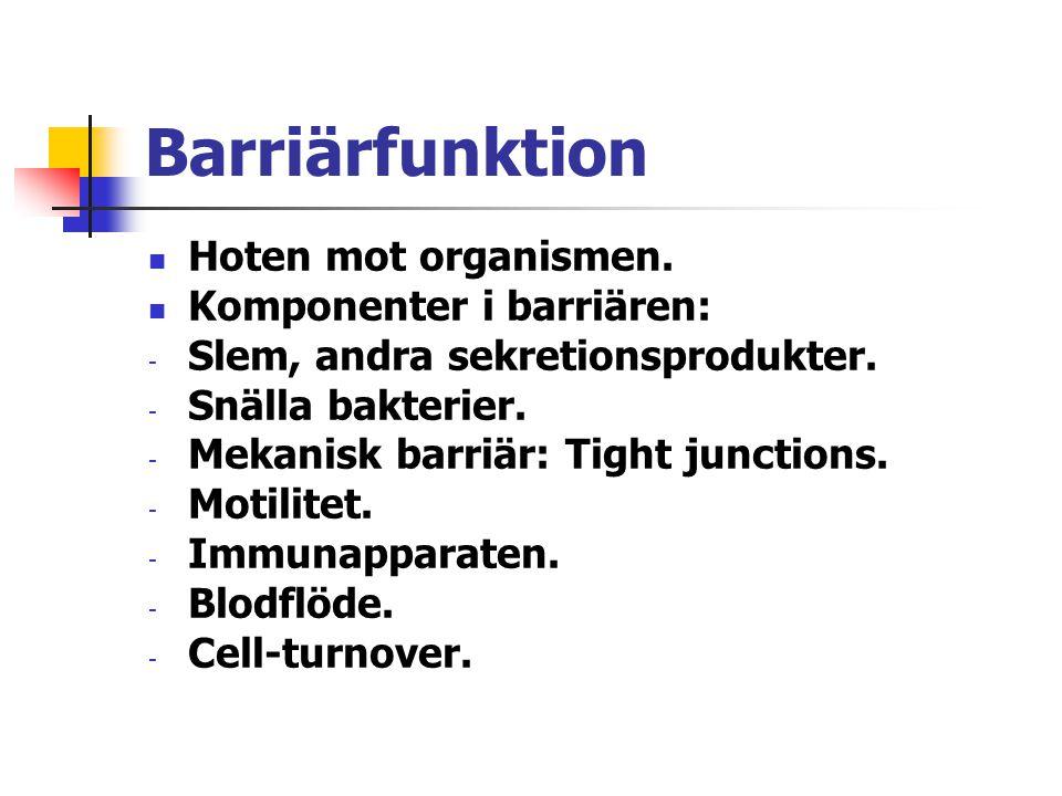 Barriärfunktion Hoten mot organismen. Komponenter i barriären: