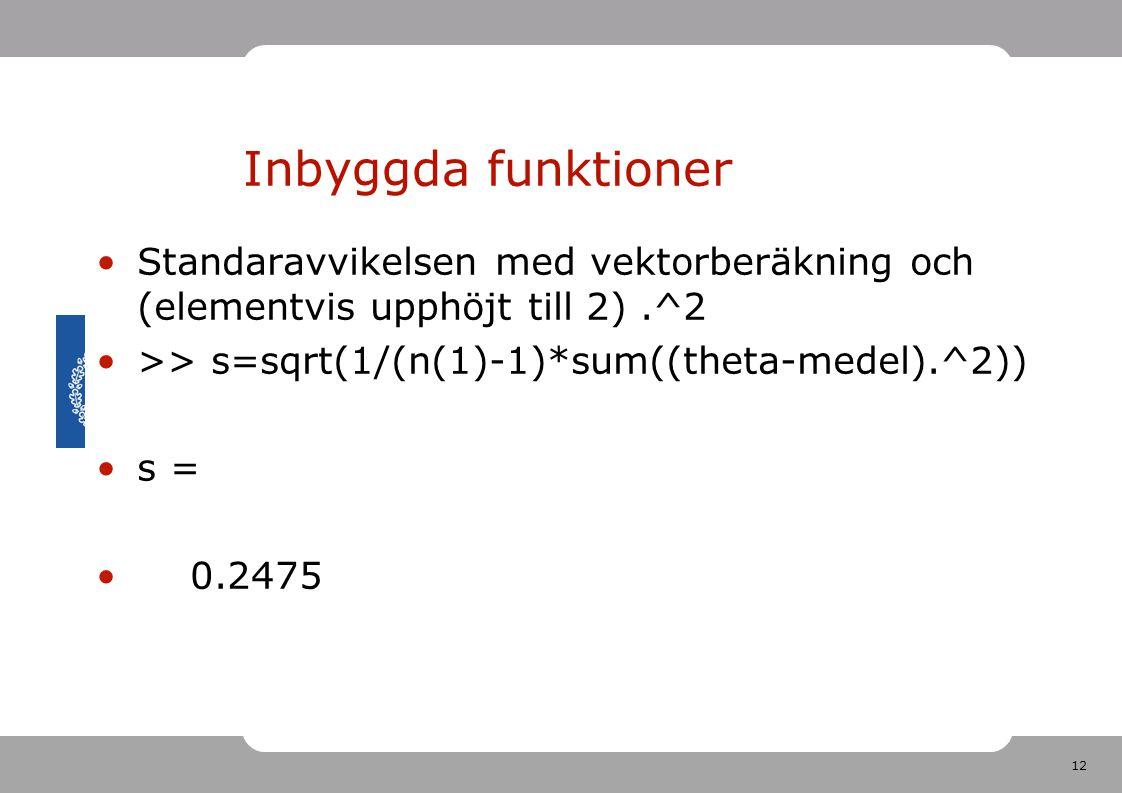 Inbyggda funktioner Standaravvikelsen med vektorberäkning och (elementvis upphöjt till 2) .^2. >> s=sqrt(1/(n(1)-1)*sum((theta-medel).^2))
