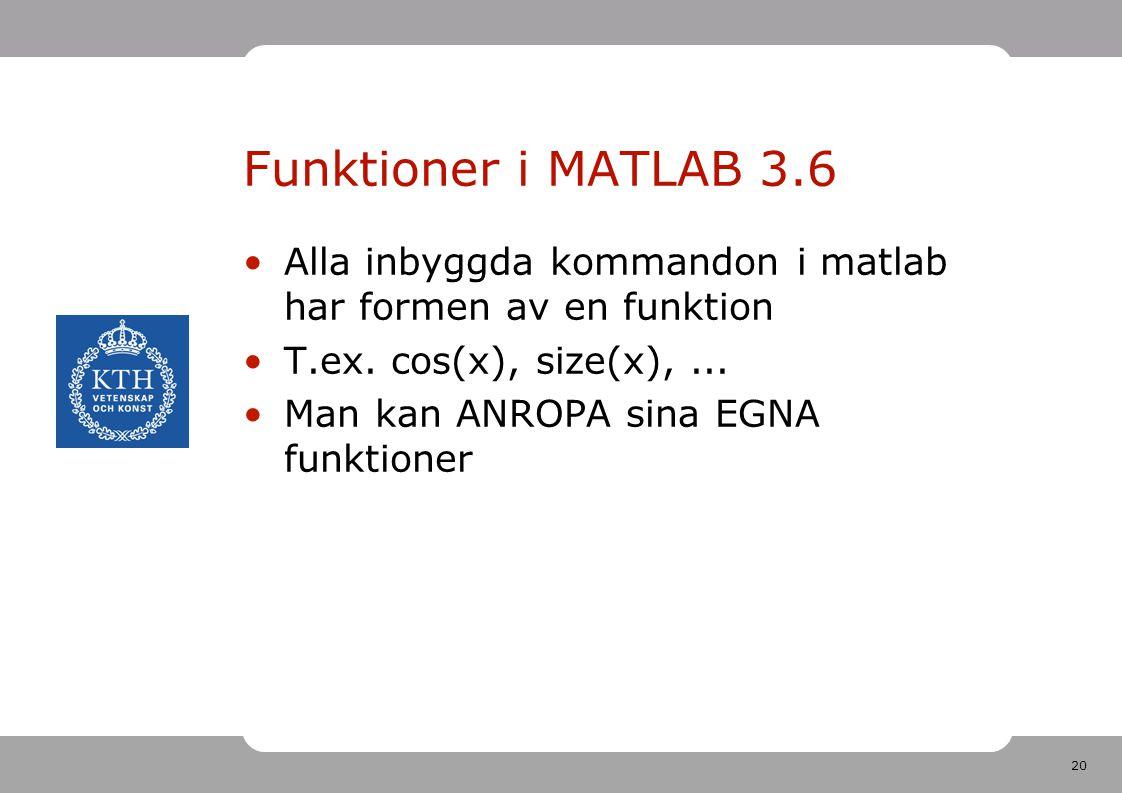 Funktioner i MATLAB 3.6 Alla inbyggda kommandon i matlab har formen av en funktion. T.ex. cos(x), size(x), ...