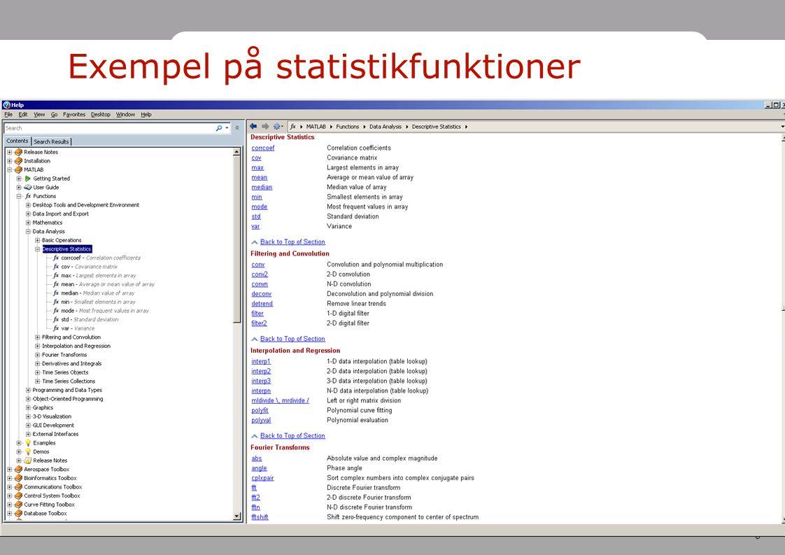 Exempel på statistikfunktioner
