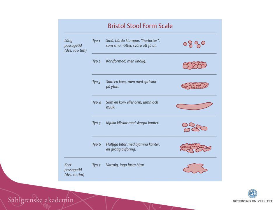För att kunna karakterisera vad man menar med avföringsrubbning eller avvikande avföring måste man veta vad som är normalt. I en befolkningsundersökning visade sig 94 % av individerna ha mellan mindre än tre tarmtömningar per dag och mer än tre tarmtömningar per vecka. Detta ligger till grund för klassificering av normal/avvikande avföringsfrekvens. Även konsistensen skall bedömas, och då kan man ta hjälp av den så kallade Bristol Stool Form Scale, där 1 och 2 brukar benämnas hård avföring och 6 och 7 lös avföring.
