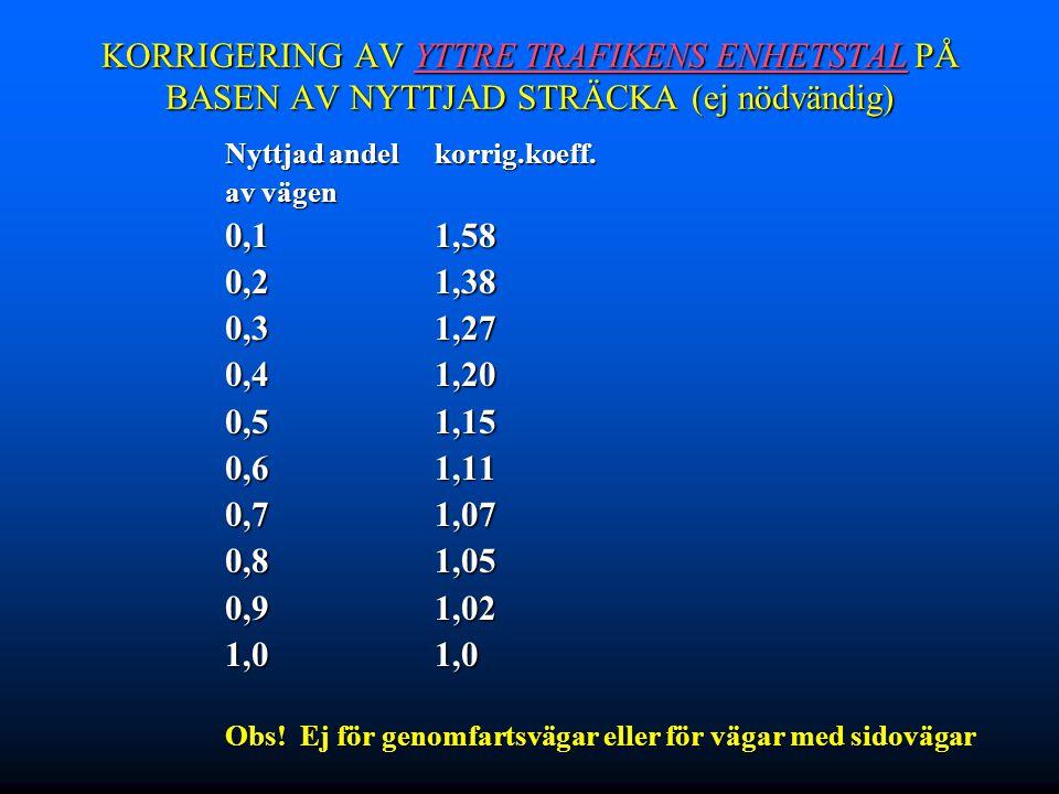 KORRIGERING AV YTTRE TRAFIKENS ENHETSTAL PÅ BASEN AV NYTTJAD STRÄCKA (ej nödvändig)