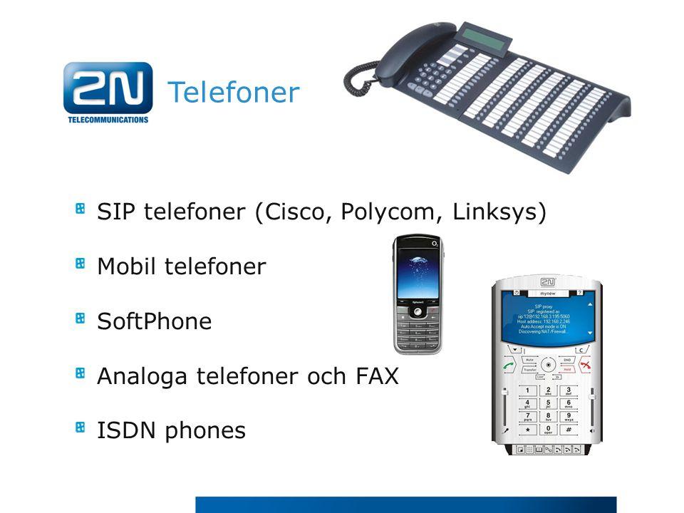 Telefoner SIP telefoner (Cisco, Polycom, Linksys) Mobil telefoner