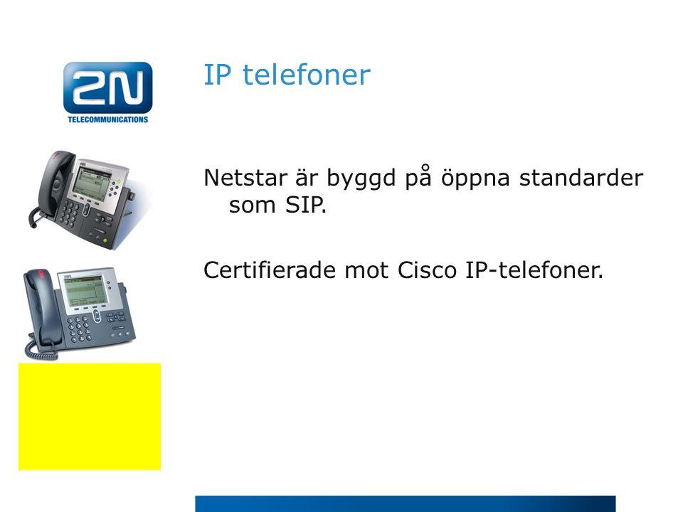 IP telefoner Netstar är byggd på öppna standarder som SIP.