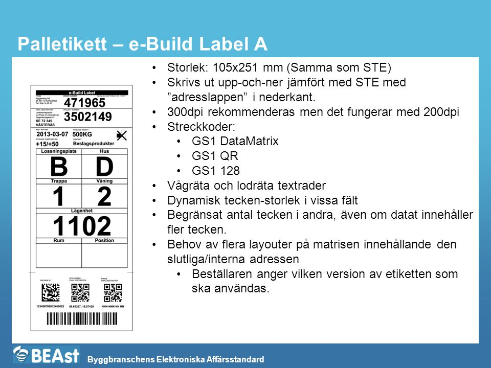 Palletikett – e-Build Label A