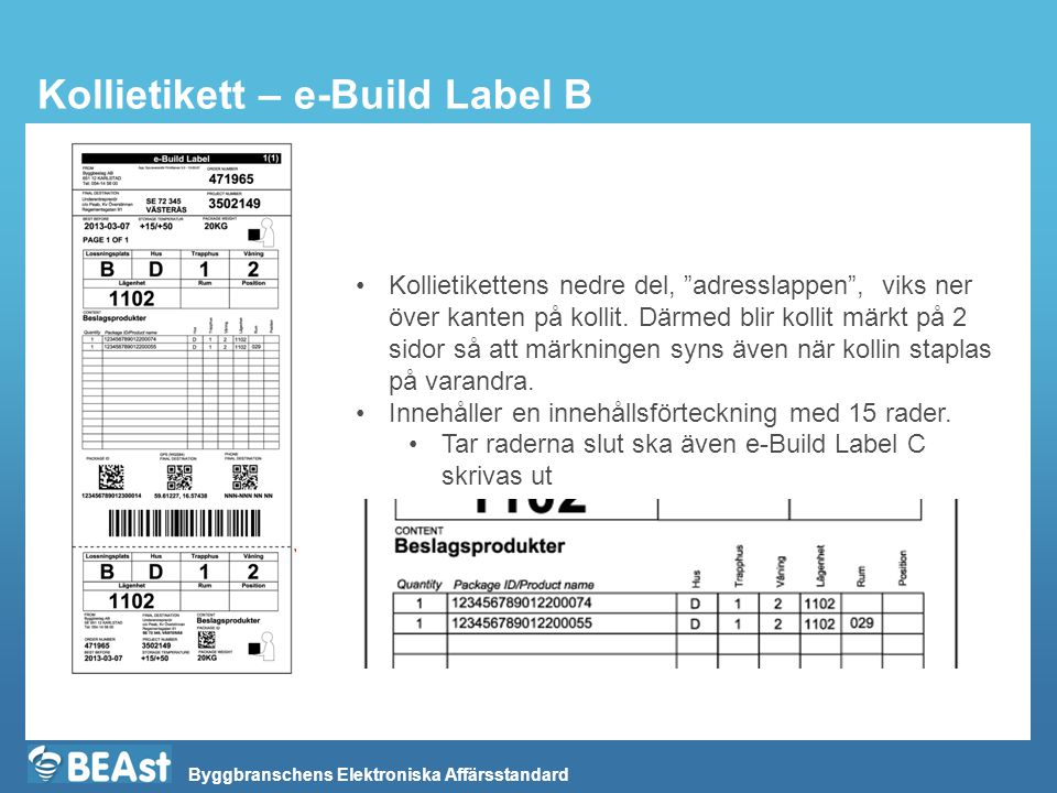Kollietikett – e-Build Label B