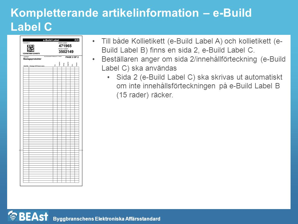 Kompletterande artikelinformation – e-Build Label C