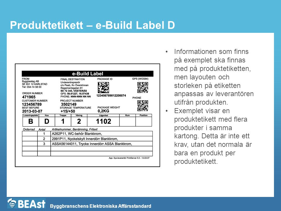 Produktetikett – e-Build Label D