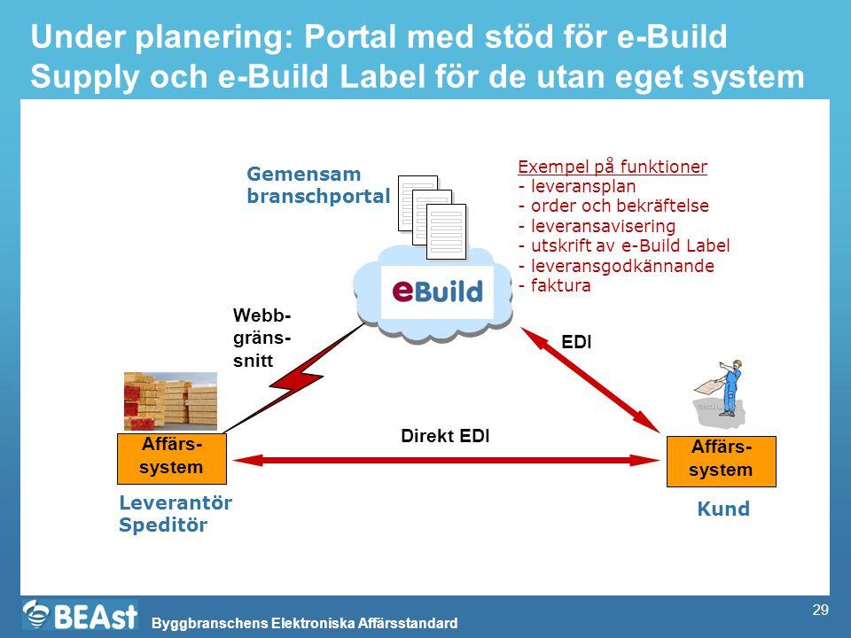 Under planering: Portal med stöd för e-Build Supply och e-Build Label för de utan eget system