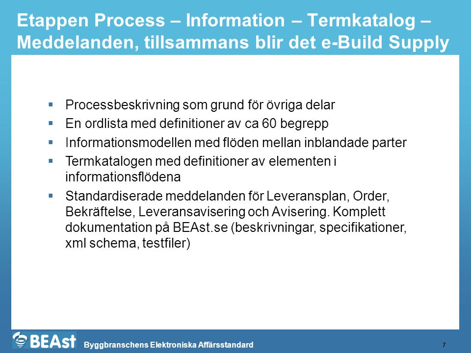 Etappen Process – Information – Termkatalog – Meddelanden, tillsammans blir det e-Build Supply