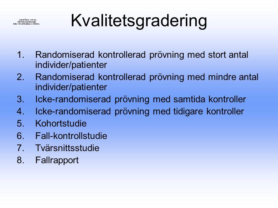 Kvalitetsgradering Randomiserad kontrollerad prövning med stort antal individer/patienter.