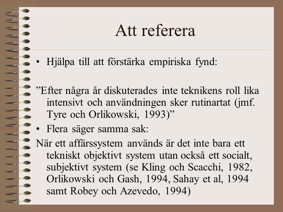 Att referera Hjälpa till att förstärka empiriska fynd: