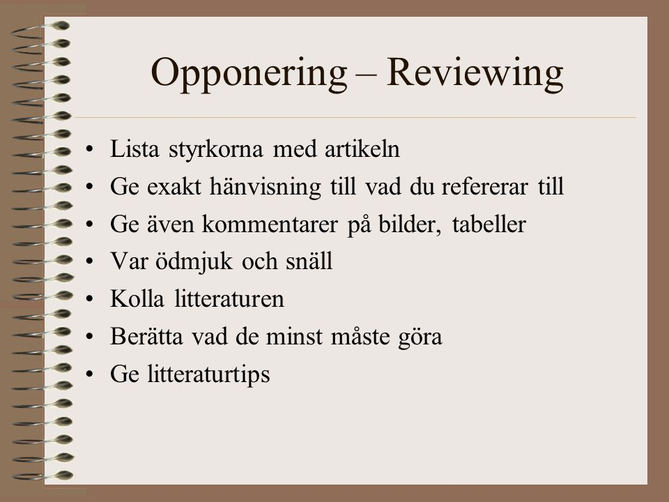 Opponering – Reviewing