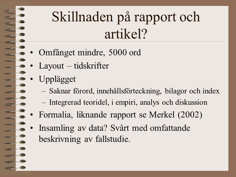 Skillnaden på rapport och artikel