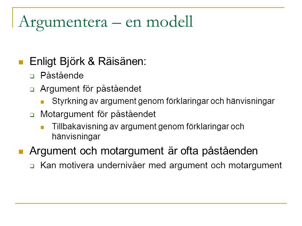 Argumentera – en modell