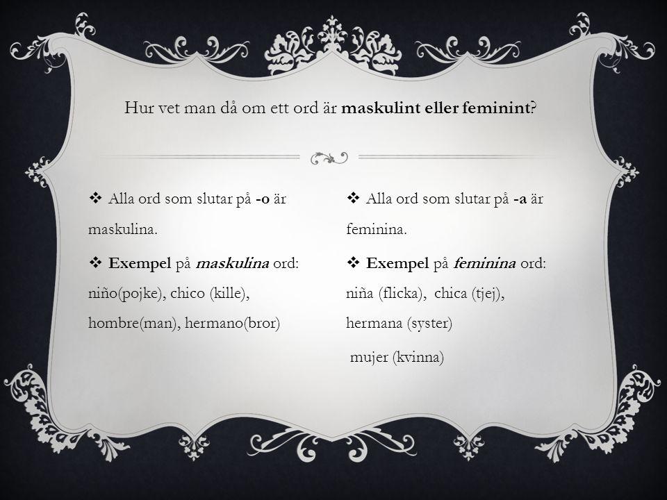 Hur vet man då om ett ord är maskulint eller feminint