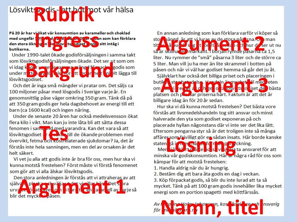 Rubrik Ingress Argument 2 Bakgrund Argument 3 Tes Lösning Argument 1 Namn, titel