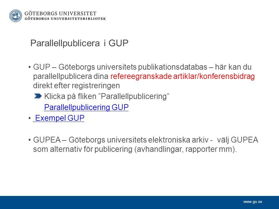 Parallellpublicera i GUP