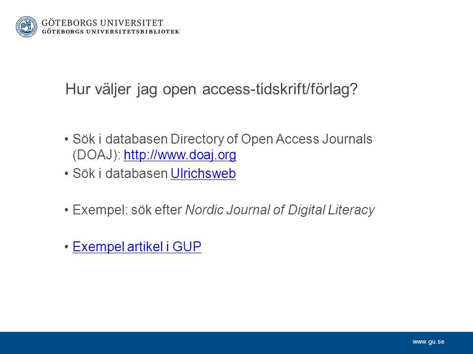 Hur väljer jag open access-tidskrift/förlag