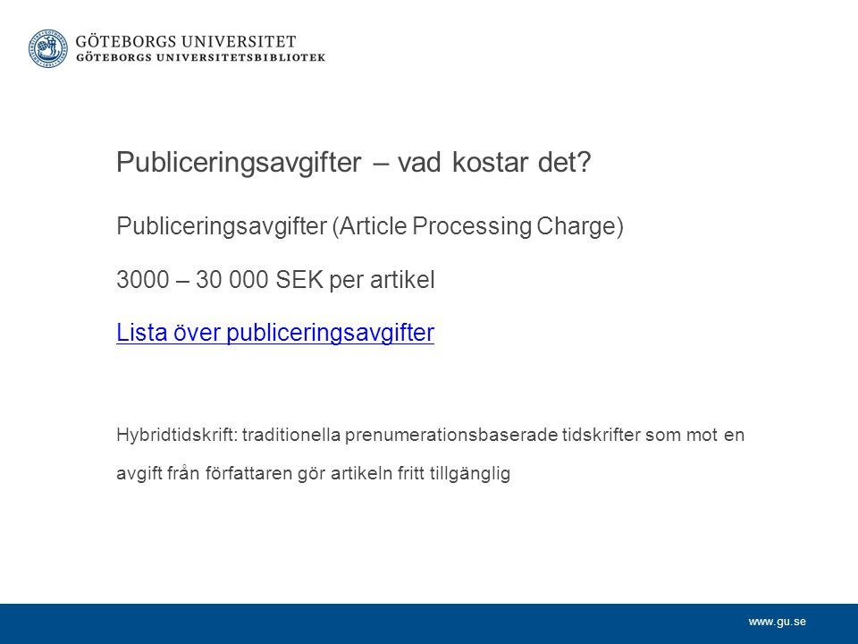 Publiceringsavgifter – vad kostar det