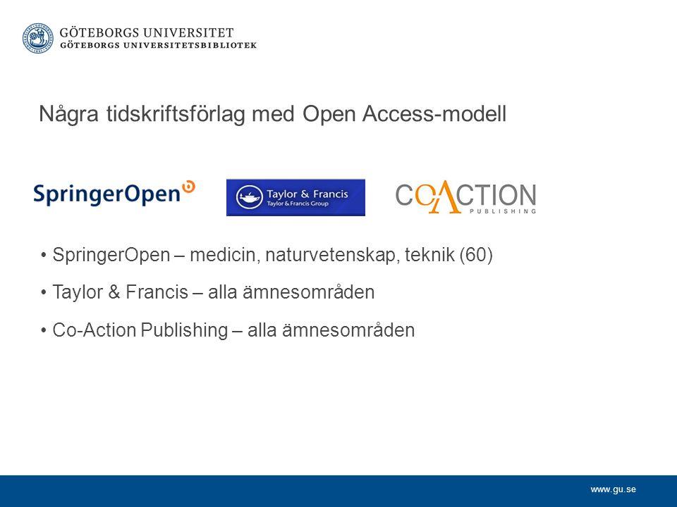 Några tidskriftsförlag med Open Access-modell