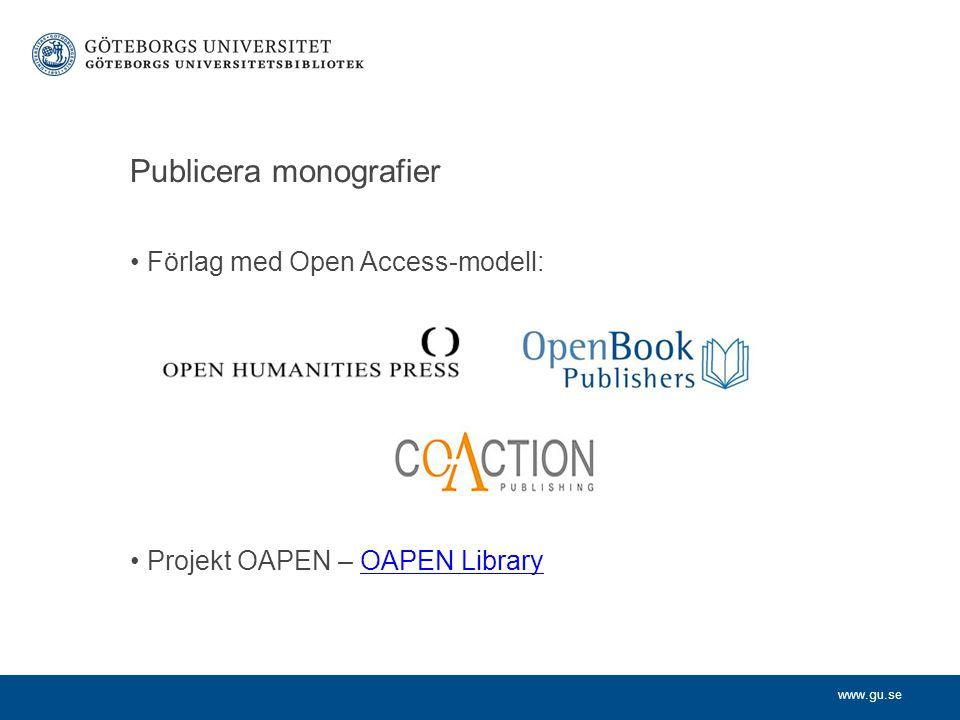 Publicera monografier